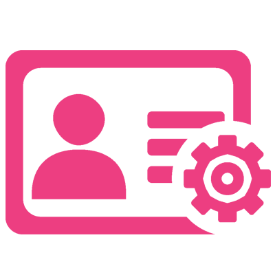 An icon of a pink person in a card with a cog signifying staff management from Neko Salon Software.