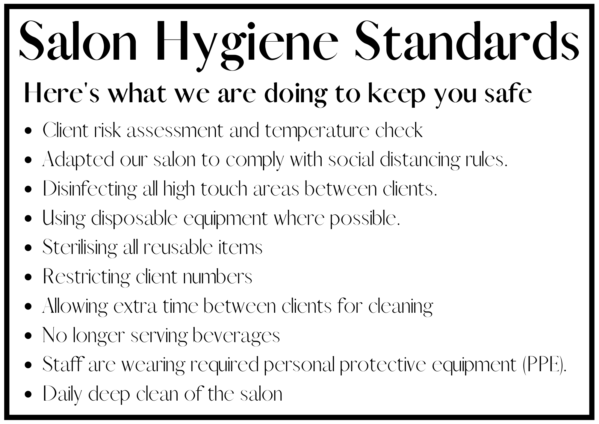 white poster with text for salon hygiene standards.